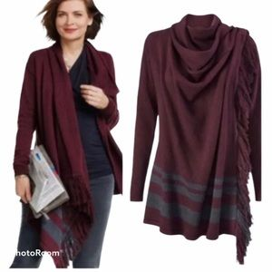 Cabi 3002 Port Fringe Wrap Cardigan Small